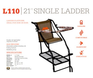 Millenium Treestands L110 Ladder Stand Specifications